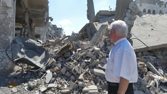 Bishop Malone inspects the devastation in Gaza.