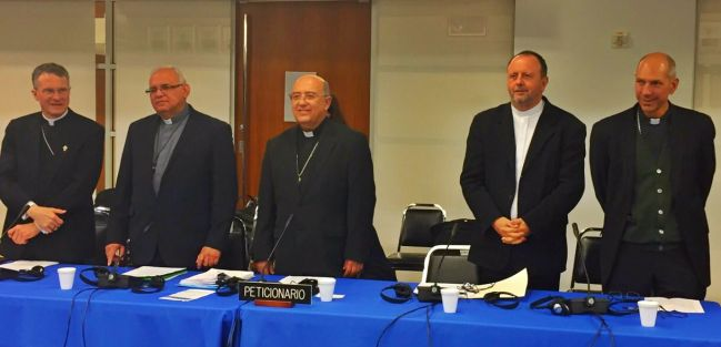 Archbishop Timothy Broglio, Bishop Alvaro Ramazzini, Archbishop Pedro Barreto, Bishop Roque Paloschi and Bishop Donald Bolen stand before the Inter-American Commission on Human Rights.