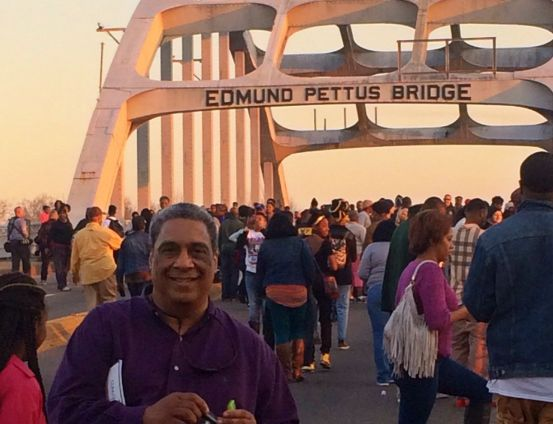 Ralph McCloud on the Edmund Pettis Bridge in Selma, Alabama during celebrations to mark the 50th anniversary of the Selma to Montgomery Marches.