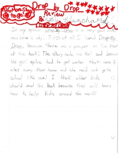 handwritten review of Drop by Drop by 8 year old