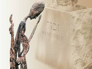 Image of Rachel Weeping statue and base at the Holocaust Memorial in Richmond, VA
