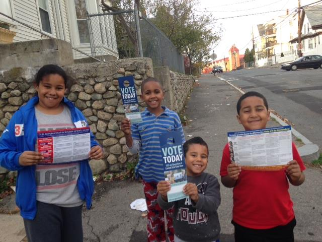 MCAN engages younger generations in the importance of community organizing and voting. These four children of leaders in Brockton helped canvass for the 2014 Earned Sick Time Ballot Initiative in Massachusetts.