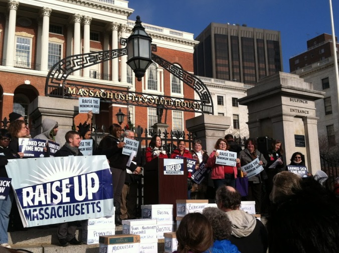 MCAN members gather with coalition partners at Raise Up Massachusetts outside the Massachusetts State House to turn in a record-high number of petition signatures to raise the minimum wage.
