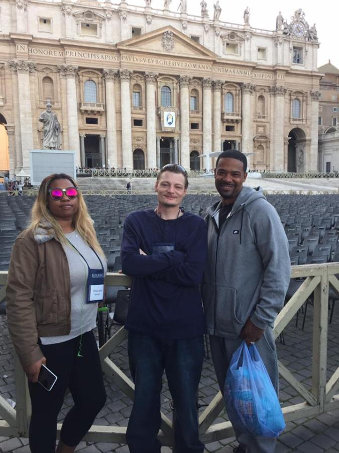 Tiffany Hunter, Jeffery Whalen, and Dominic Duren - three returning citizens who went to Rome for the pilgrimage