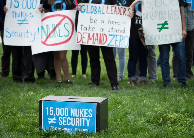 Demonstrators in Washington protest nuclear weapons April 1. (CNS photo/Tyler Orsburn)